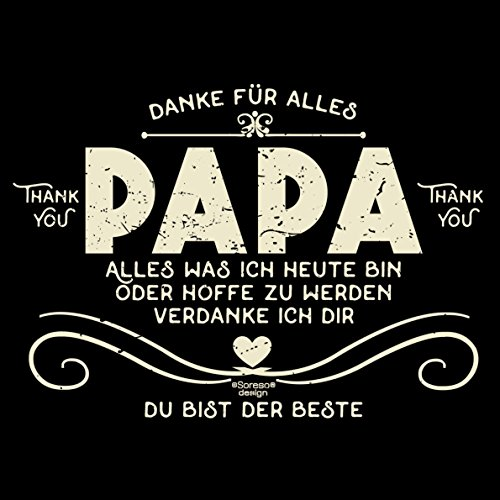 Vatertags T-Shirt - Danke Papa - Du bist der Beste - cooles Shirt mit lustigem Spruch als Geschenk für den Vater Schwarz