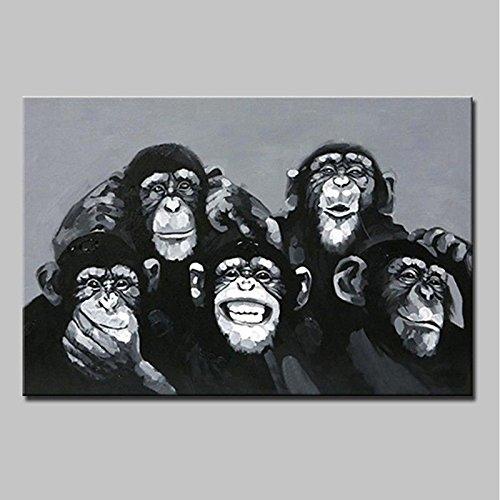 WJ-HOME Öl Malerei von Hand bemalt - Tiere Abstrakt Moderne Leinwand gehören Innerer Rahmen, 48