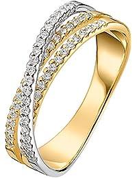 CHRIST Diamonds Damen-Ring 585er Gelbgold, 585er Weißgold 59 Diamant ca. 0,38 Karat (gold)