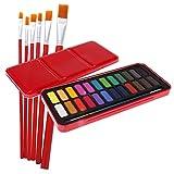 Gazechimp Aquarell Malkasten mit 24 Farben +6er Flache Spitze Nylon Haar Acryl Aquarell Pinsel Set