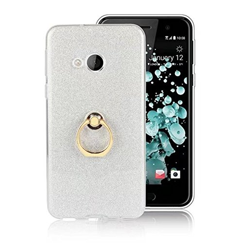 EKINHUI Case Cover Soft Flexible TPU Back Cover Case Shockproof Schutzhülle mit Bling Glitter Sparkles und Kickstand für HTC U Play ( Color : White ) White