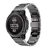 Garmin Fenix 5 GPS Watch Armband, OverDose Echtes Edelstahl-Armband Schnelles Freigabe-Passendes Band-Bügel für Garmin Fenix 5 GPS Watch (Schwarz)