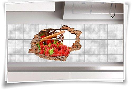 Fliesenaufkleber Fliesenbild Wanddurchbruch Sticker Erdbeere Korb Sweet Beeren, 75x50cm, 15x20cm (BxH)
