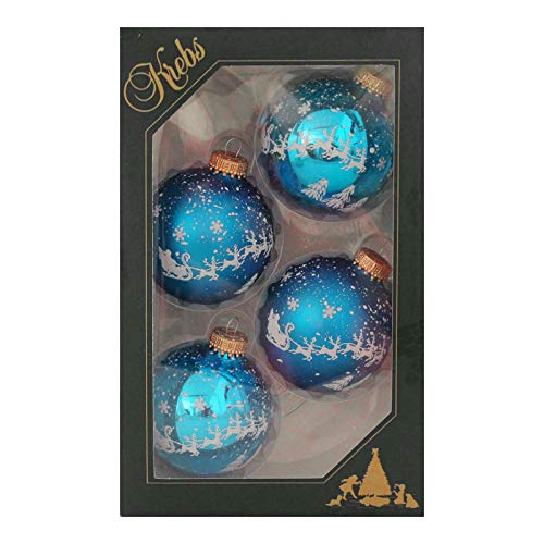 Krebs Glas Lauscha Weihnachtskugeln Blau mit Rentieren und Schneeflocken, 4 Stück/Set, Ø 7 cm