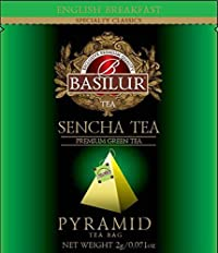 Basilur   Sencha Green Tea   Pure Ceylon Green Tea   Pyramid Tea Bags   Biodegradable Luxury Tea bags   For Hotels, Restaurants, Cafes and Tea lovers   Ultra-Premium Tea Sachets in Box (Pack of 50)