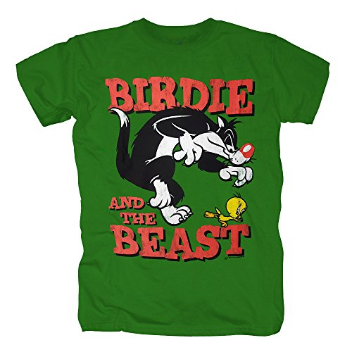 TSP Looney Tunes - Birdie and the Beast T-Shirt Herren M Kelly Green (Fashion Bug Halloween Kostüme)