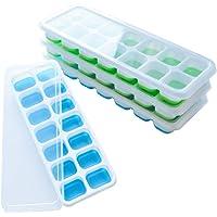 Frdzsw 4 Pack Bac à Glaçons en Silicone avec Couvercle Non-Déversement,Moules à Glace,sans BPA,LFGB Certifié, Glace Cube…