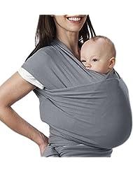 Écharpe de Portage, Lictin l'Echarpe Portage Fait de Coton Elastique Sans Nœud, Écharpe Multifonctionnel pour les Nouveau-nés et Bébés Jusqu'à 15 kg, Echarpe de Portage bebe Gris
