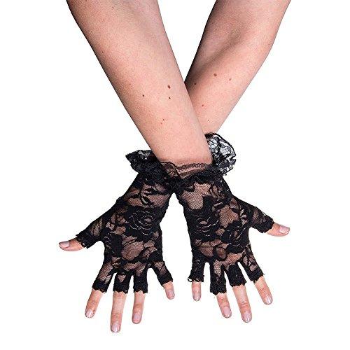 TaoNaisi Guantes encaje sin dedos negros Halloween