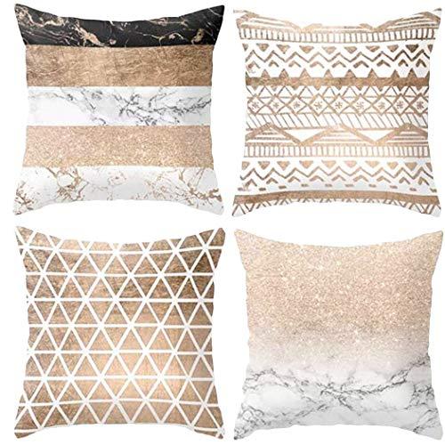 "Hangood Fundas de cojín geométricas de Lino y algodón de 18 x 18 cm 45 x 45 cm, Plush-Geometric-3, 18""x18"""