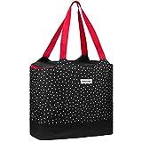 anndora 2 in 1 Einkaufstasche mit Isoliertasche - doppeltes Volumen - rot/schwarz gepunktet