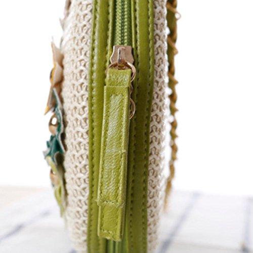 YOUJIA Damen Blumen Chain-strap Boho Stroh Strandtaschen Schultertaschen Beige