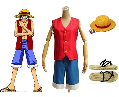 One Piece Monkey D. Luffy Cosplay Costume - Monkey D. Luffy Costume combinaison, taille S: (150-160 cm,40-50 kg)