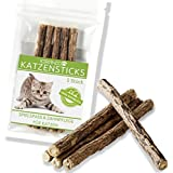 KIRANDO Natürliche Katzenminze Kausticks Spielspass & Zahnpflege-Katzenspielzeug - Vermindert Mundgeruch & Zahnsteinbildung