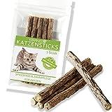 KIRANDO Katzenminze Katzenspielzeug 5 Sticks - Unsere Matatabi-Kausticks unterstützen die natürliche Zahnpflege und Helfen Bei Zahnstein & Mundgeruch