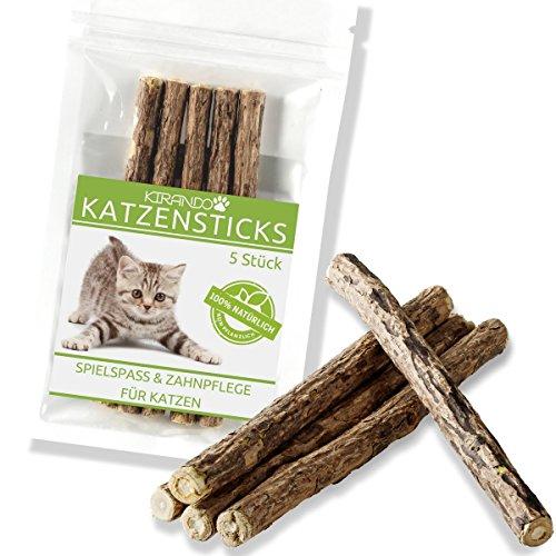 KIRANDO Katzenminze Katzenspielzeug 5 Sticks - Unsere Matatabi-Kausticks unterstützen die...