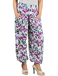 Exclusive Multicolour Printed Harem Pants For Women - Stylish Floral Rayon Printed Harem Pants - All Sizes Available...