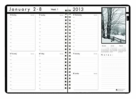 House of Doolittle Black on White Weekly Planner 12 Months January 2013 to December 2013, 8.5 x 11 Inches, Photo each Month, Recycled (HOD217102) by House of Doolittle (English Manual)