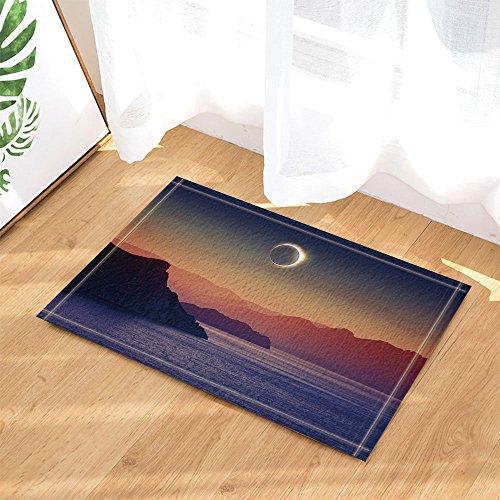 gohebe Nature Weltall Decor Eclipse in the Mountain auf Ocean Bad Teppiche rutschhemmend Fußmatte Boden Eingänge Innen vorne Fußmatte Kinder Badematte 39,9x 59,9cm Badezimmer Zubehör (Eclipse Decor Home)