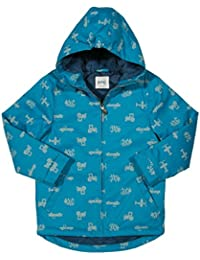 Kite Boys Go Shower Proof Coat In Blue Super Transport Print (12-18 Months)