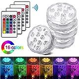Luces Sumergibles, otutun 4PCS Piscina Luz LED Impermeables Multicolores LED Luz...