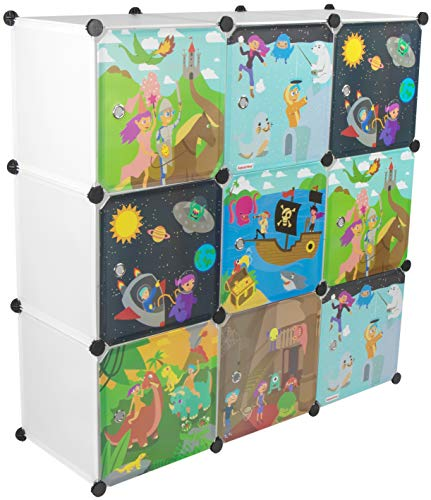 KEKSKRONE Großer Kinderschrank Bunte Motiv-Türen - DIY Stecksystem - 9 Module je 37 x 37 x 37 cm, Weiß   Kinderzimmer-Schrank   Kinderkleiderschrank   Baby-Regal   Spielzeugkommode (Baby-zimmer-wand-regale)