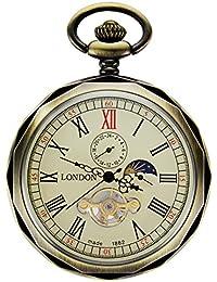 Treeweto - reloj de bolsillo para hombre, con números romanos de bronce, maquinaria al descubierto con cadena, formato 24horas sol y luna + caja de regalo
