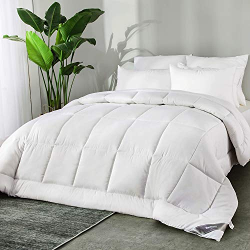 Bedsure Edredon Nórdico Cama 150 de Verano 220x240 cm - Edredón Nórdico Blanco 180 gr/m de Microfibra Suave y Hipoalergénico - Reversible Lavable para 4 Estaciones