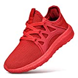 ZACAVIA Unisex-Kinder Outdoor Laufschuhe Sportschuhe Leicht Rutschfeste Sneaker Rot 32 EU(Herstellergröße: 33)