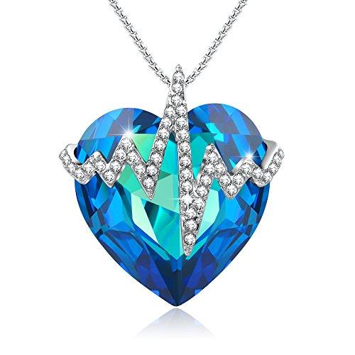 Liebe-entschlsselnHerz-Halskette-Frauen-Schmuck-Jubilum-Geburtstagsgeschenke-fr-Frau-blaue-Kristalle-von-Swarovski