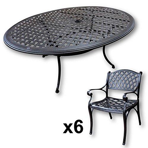 Lazy Susan Nicole 180 X 115 Cm Ovaler Gartentisch Mit 6 Stuhlen