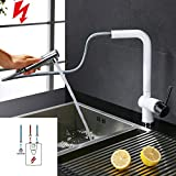 Homelody (3 Schläuche)Niederdruck Küchenarmatur Weiss Wasserhahn Küche Ausziehbar Niederdruckarmatur mit Brause Spültischarmatur Küchenmischer Mischbatterie für Küche