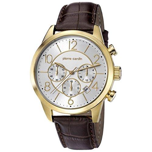 Pierre Cardin Men's Watch Troca Gold Brown Leather Watch Strap PC106591°F16