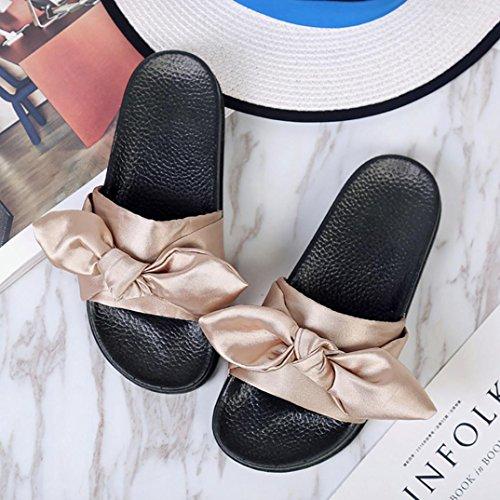 BZLine® Frauen Flip Flops Pantoffeln flache Sandalen Sommer Bow Hausschuhe Khaki