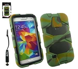 Emartbuy® Samsung Galaxy S5 Camouflage Antiurto Forte Custodia Case Cover con Costruito nel Proteggi Schermo + Metallico Mini Nero Stylus