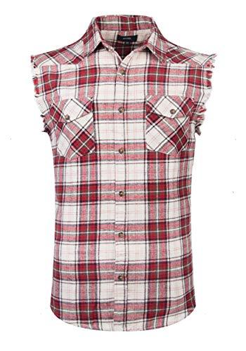 SOOPO Herren Ärmellose Kariert Flanell Hemden Freizeithemd aus Baumwolle Sleeveless T-Shirt(rot&beige,2XL) -