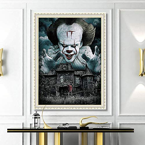 Beilinheng Wohnzimmer Dekorative Malerei DIY 5D Voller Diamanten Charakter Horror Clown Malerei Kreuzstich Wohnzimmer Dekorative Malerei, Leinwand 30X40 cm Rahmenlos (Horror Charakter Kit)