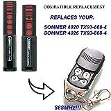 SOMMER 4026, SOMMER 4020 Compatible Télécommande, 4 canaux 868,8Mhz remplacement de haute qualité pour LE MEILLEUR PRIX. (NOT MADE BY Sommer)