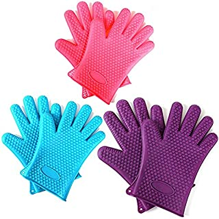 Prime Homewares - Set of 2 - Heat Resistant Silicone Kitchen and BBQ Gloves -Perfect Grill Gloves, Great for Cooking, Boiling-Water Proof,Dishwasher Safe, and Outperforms Oven Mitts (Purple)