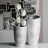1 x Vase Polar Keramik silber m. weißem Finish gefrostete Optik Höhe 30 cm, f. Blumen, Deko