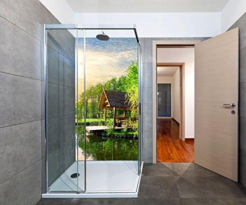 Duschrückwand Gartenlaube in der Nähe von einem kleinen See Deko Design | 70 x 200cm (B x H) | Aluminium gebürstet 3mm