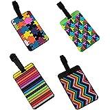 EQLEF TS-N-1004 - Conjunto de 2 etiquetas del equipaje, PVC, 6,5 x 10,5 cm, multicolor