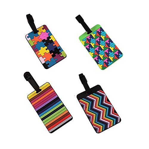 EQLEF® Set Of 4 Lovely Secure Luggage Tags PVC Suitcase luggage tags Business Card Holder/ Travel ID Bag Tag