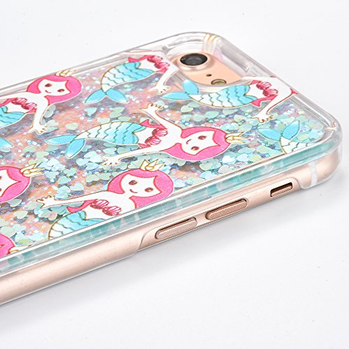 Voguecase Pour Apple iPhone 7 4,7, Luxe Flowing Bling Glitter Sparkles Quicksand et les étoiles Hard Case étui Housse Etui(Amour Quicksand-Pink sable-talons hauts rouges) de Gratuit stylet l'écran alé Amour Quicksand-Bleu sable-Mermaid 01