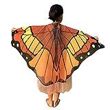WOZOW Damen Schmetterling Schmetterlingsflügel Tuch Umhang Kostüm Faschingkostüme Poncho Schal für Party Cosplay Karneval Fasching (Kaffee)