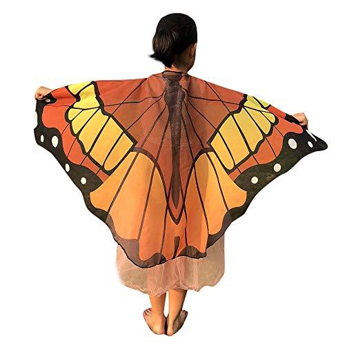 Ears Kinder Schmetterlings Print Flügel Schal Poncho Kostüm Zubehör Mädchen Flügel Performance Prinzessin Modisch Swing Karneval Drucken Halstücher Party Vintage Cosplay Umschlagtücher (Orange Pixie Kostüme)