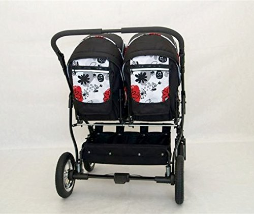 Complete Twin Pram - Carrycots, Chairs and Accessories - Black + Red BBtwin Colour: black + red. Includes 2 carrycots and 2 chairs plus leg cover, carrycot covers, bag backpack, lower basket, 2 plastic rain covers and 2 fly nets. - High-quality pneumatic, swivelling and shock-absorbent wheels. 7