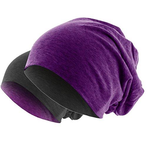 Hatstar Slouch Long Beanie 2in1 Reversible Jersey Mütze in 44 Farben (Lila Meliert/Dunkelgrau)