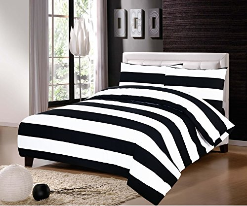 Jaaz Textil alle Größen 100% ägyptische Baumwolle, Streifen in Schwarzweiß, bedruckte Bettwäsche, Bettbezugsets, 100 % Baumwolle, BLACK AND WHITE BOLD STRIPES PRINTED, Einzelbett -
