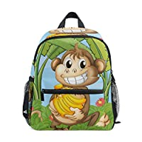 BENNIGIRY Cheeky Monkey Kids Backpack School Book Bag for Toddler Boys Girls